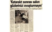 Gazete34,  Katarakt Sonrası Gözlerinizi 07.01.2008